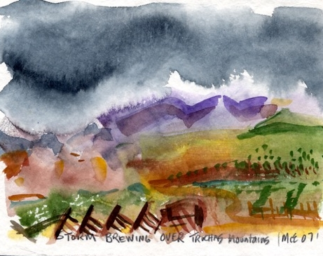 """Storm Brewing Over Truchas Mountains"", watercolor"