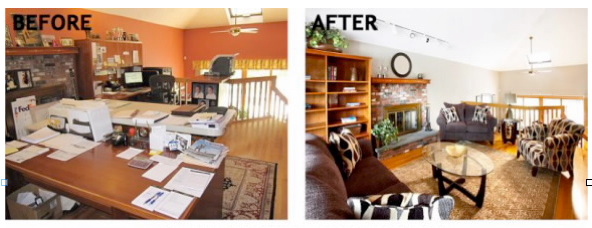 Living room: Unstaged vs. Staged (NAR)