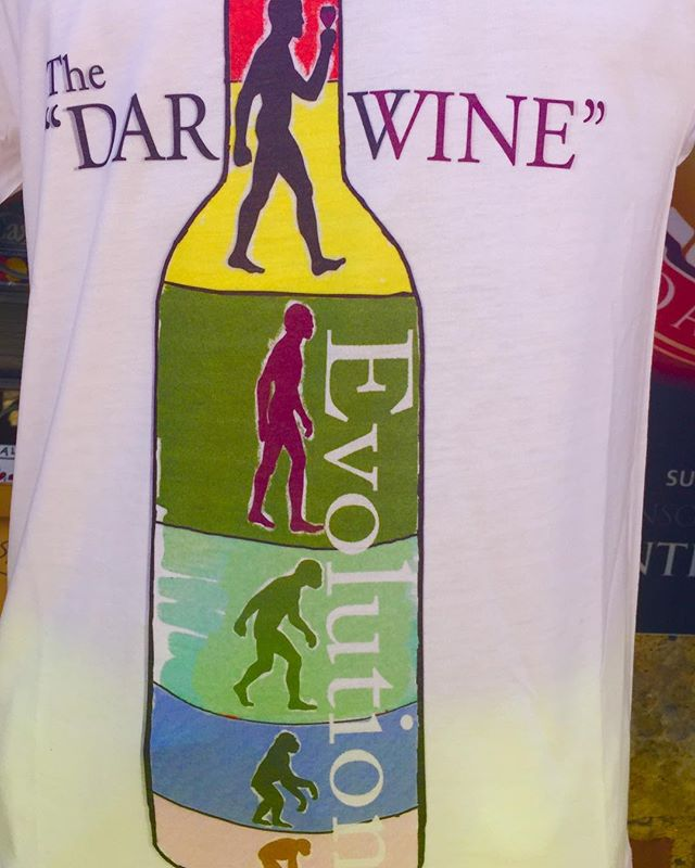 We are all about exploring great #wine and had to laugh at this apron explaining the evolution of #wine. That Darwin was onto something!  #bcwine #bcwines #explorebcwine #winelovers #winestagram #wineart