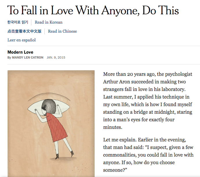 """The article and questions """"To Fall in Love"""" is based on."""