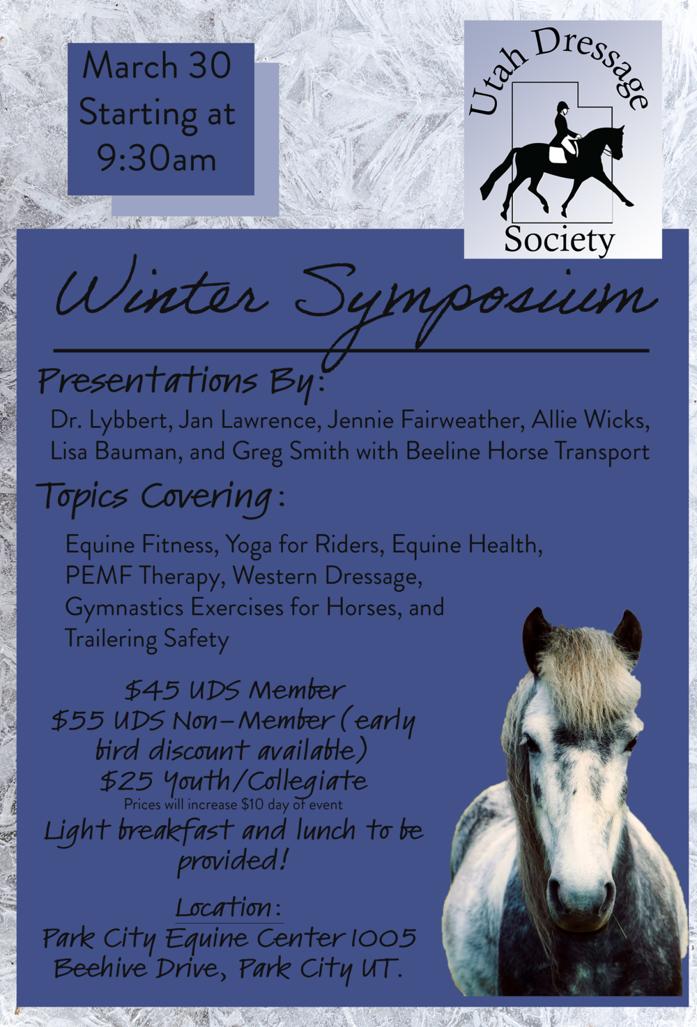 - Join us Saturday, March 30th for our annual symposium!Topics covering equine PEMF therapy, horse and rider fitness, horse health, western dressage, and trailering safety.Join us for a great day of learning at Park City Equine Center!Light breakfast & lunch included.Thank you to Dr. Blair Lybbert and the Park City Equine Center for hosting us again this year!www.parkcityequinecenter.com
