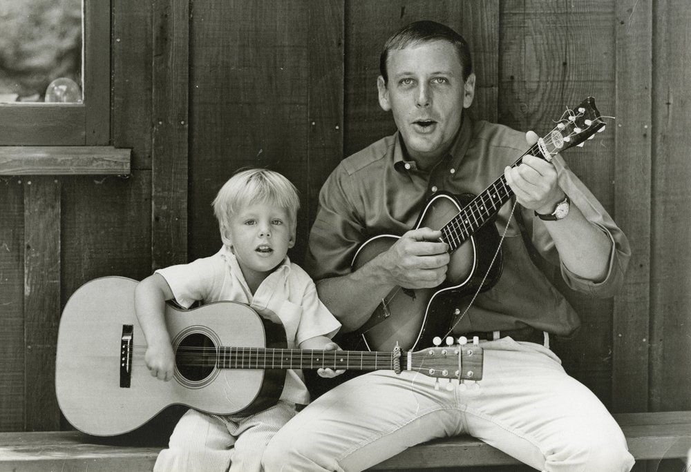 Josh and his dad, circa 1964, Reynolds home, Sausalito, CA