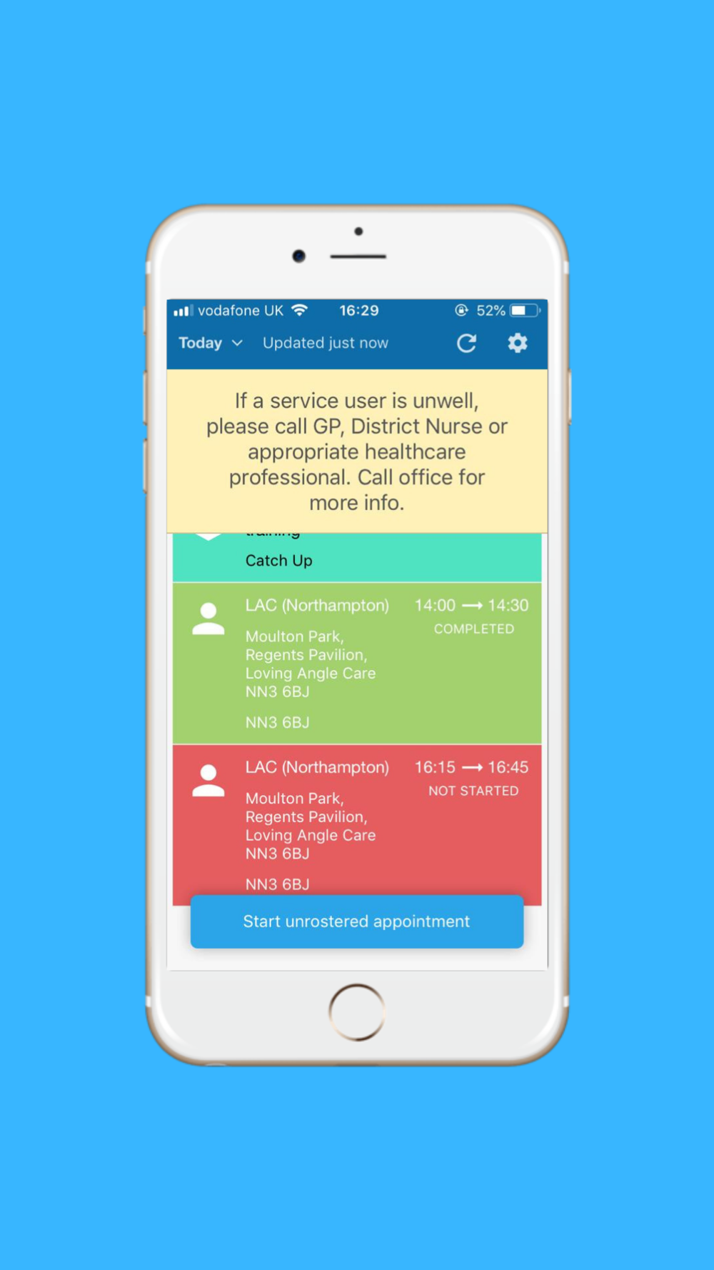 Step 1: Once you open Care Planner tap on the care call you attending in red.