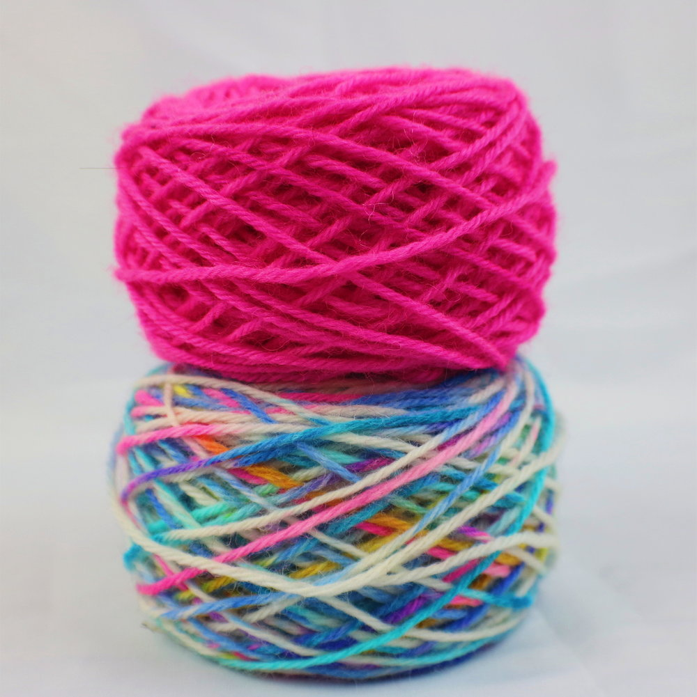 There's nothing wrong with swatching, but why pull out needles just to make sure two colors go together? Stack your big ol' balls in a pile to find a color scheme that works for you.