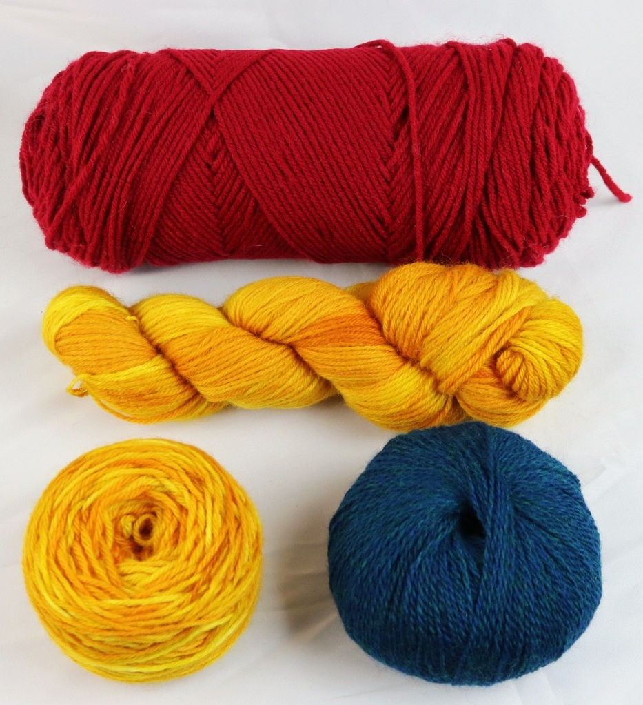 Pictured Top: A skein  Middle: a hank  Bottom left: cake  Bottom right: ball