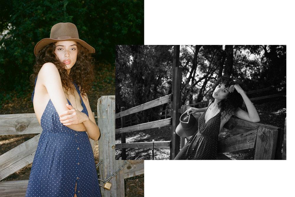 Dress:  Billabong  Hat:  Brixton  Necklace:  Wolf Citrus, Luv AJ