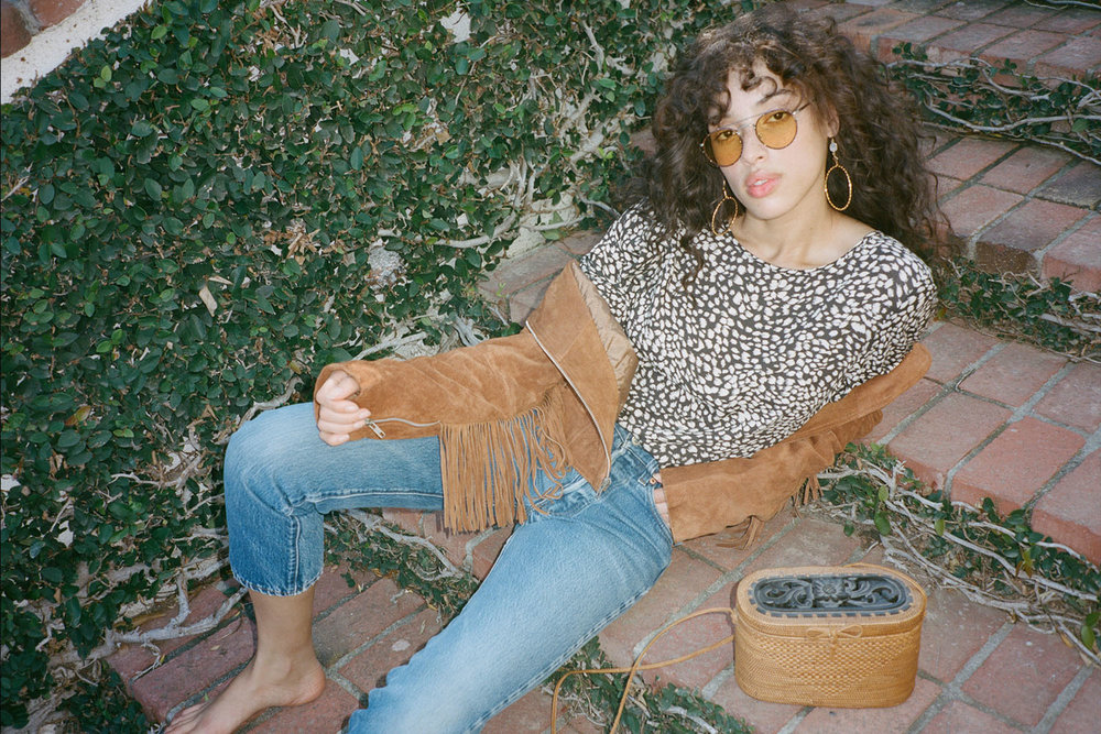 Sunnies:  Crap Eyewear  Jewelry:  Vanessa Mooney  Top:  Billabong  Jacket: Van Palma Jeans: Vintage Levis