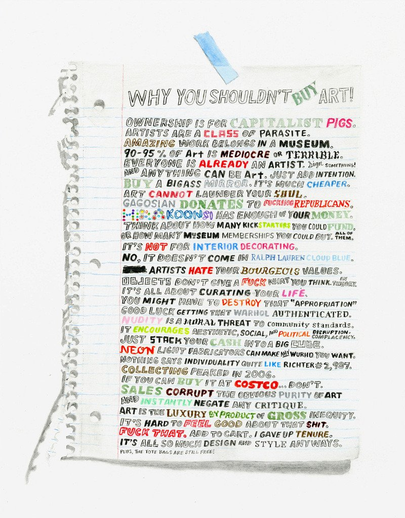 William Powhida's  Why You Shouldn't Buy Art