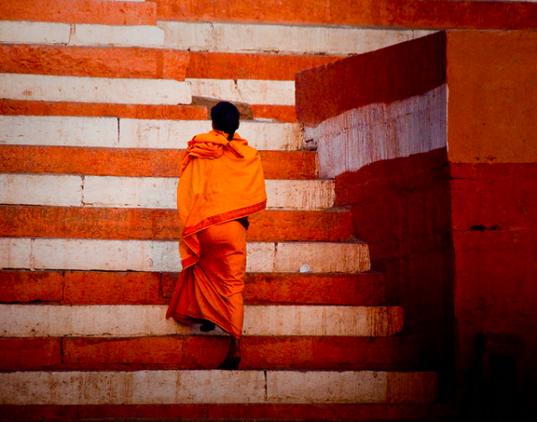 Milton Shimberg Indian Monk on Steps