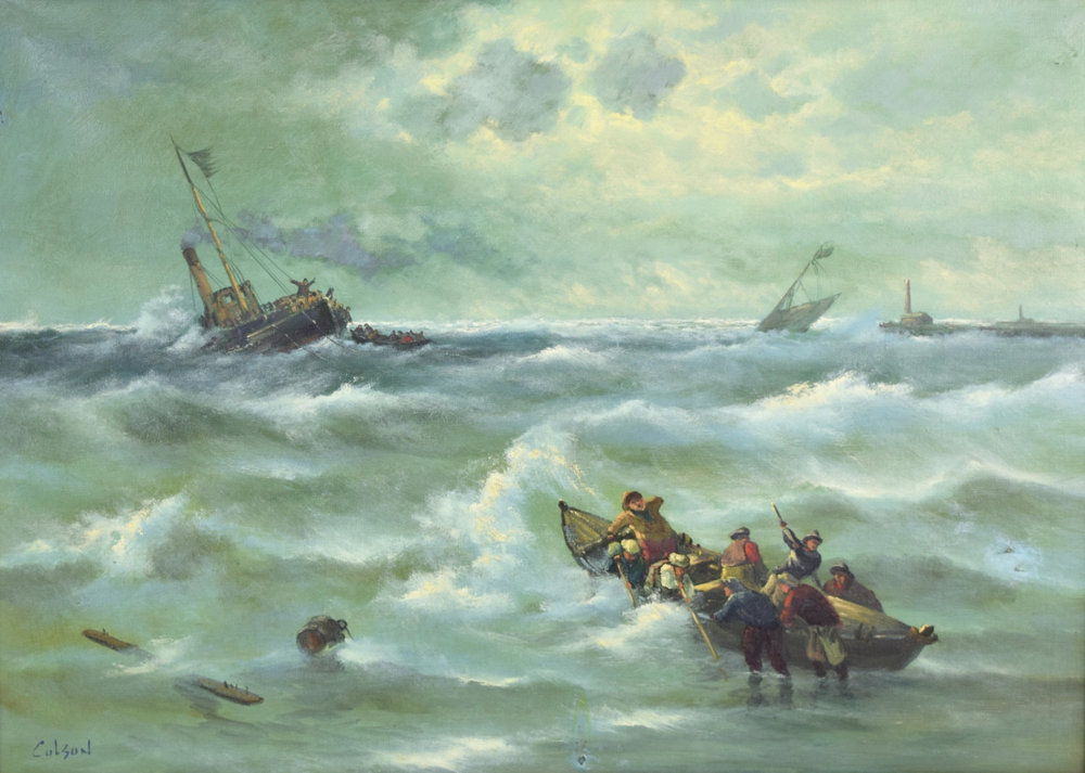 Vintage Frank Colson painting of a shipwreck