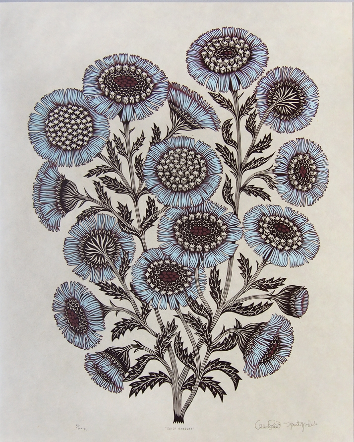Daisy Bouquet woodcut by Valerie Lueth & Paul Roden for Tugboat Print Shop
