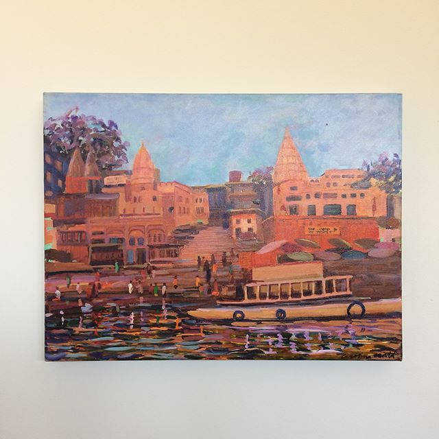 "Most people who know me IRL have heard me gush about @theartleague's #PatronsShow. Suffice it to say it's my favorite event of the year. We recently got tickets for this year's show, so I thought I'd share this piece from my 3rd Patrons' Show, a few years back: ""Two Temples - Varanasi"" by former @torpedofactoryartists Caroline Heald. It's a lovely acrylic in my favorite palette, greeting visitors as they enter our home. Fundraisers are a great opportunity to add to your art collection. In the case of the Patrons' Show, I get to support a local arts organization and come home with a piece of art I love (sometimes worth significantly more than my ticket price) and have a blast with friends at the event itself. #winning 🙌"