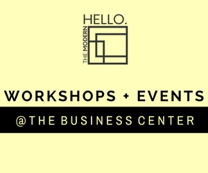 WORKSHOPS + EVENTS   Unlimited Wi-Fi +Complimentary Parking  Large Conference Table (Seats 10) Workshop  5 Full-Size Desk Spaces for Classroom Setup  20 Spaces For Open Seating Style + Presentation Table  Rental Available Weekday Evenings + Saturday