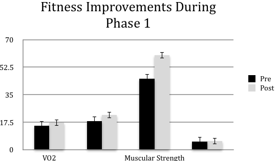 Figure 1   Phase 1 Program Completers from pre- post-exercise programming. Values are mean scores + SE, VO2 in ml/kg/min, Muscular Endurance in repetitions, Muscular Strength in psi, Flexibility in inches (n= 137).