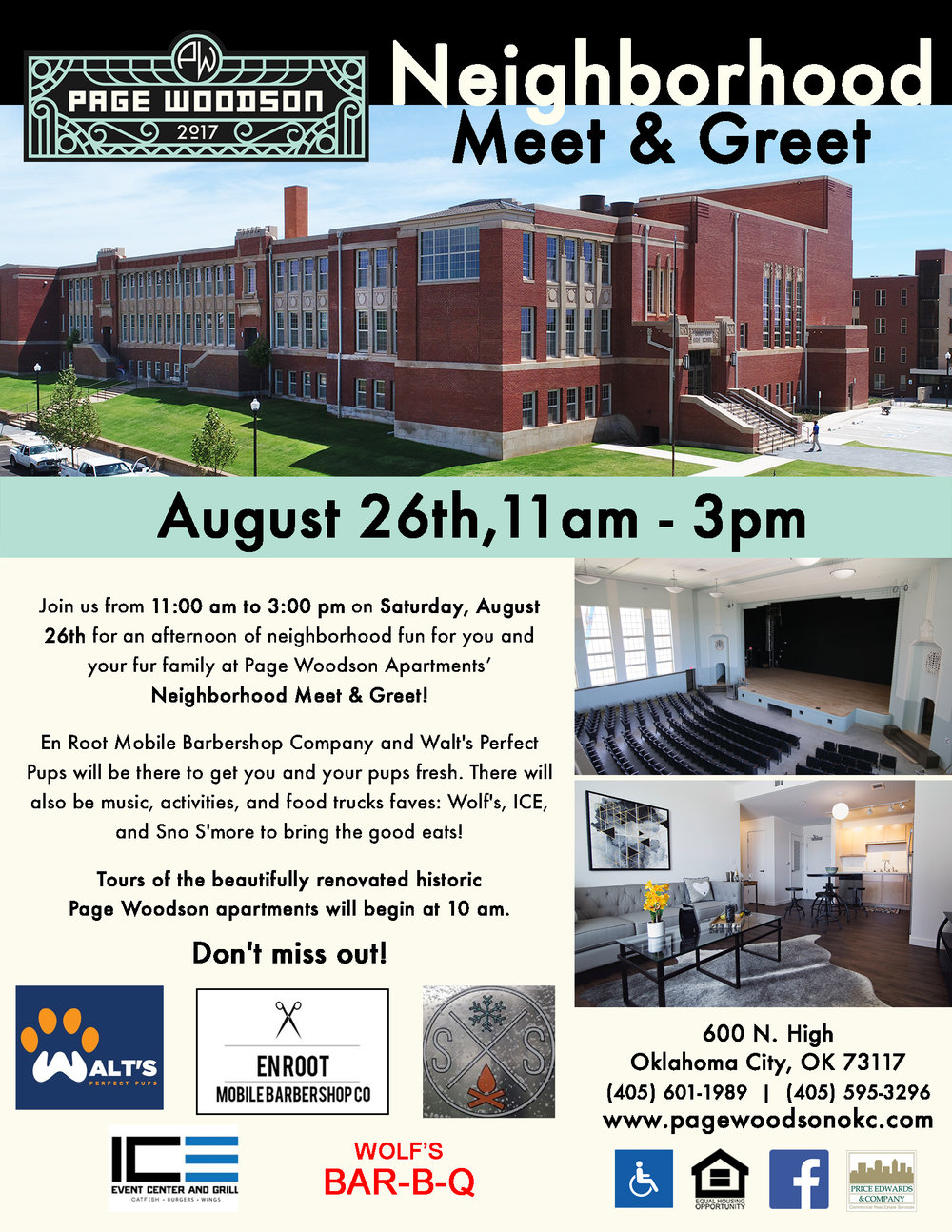 Neighborhood Meet & Greet - August 26th, 2017 -  11 am to 3 pmJoin us from 11:00 am to 3:00 pm on Saturday, August 26th for an afternoon of neighborhood fun for you and your fur family at Page Woodson Apartments' Neighborhood Meet & Greet! Tours of the beautifully renovated historic Page Woodson apartments will begin at 10 am.