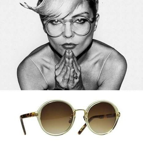 "Debbie Harry, the fearless punk icon and lead singer of ""Blondie,"" defined the American punk girl culture with her signature platinum blonde hair and fierce attitude. Pictured here rocking the round crystal specs. Get the look with Yellows Plus Casey in Vintage crystal #punkrock #debbieharry #getthelook #yellowsplus"