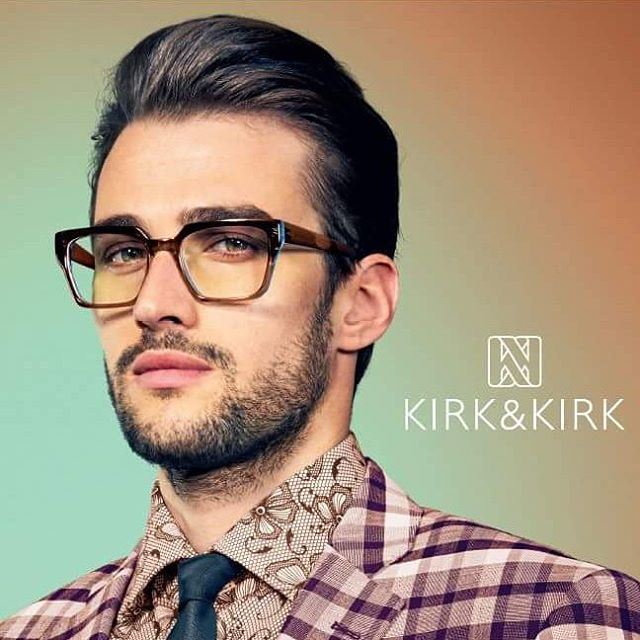 "This masculine look by British design house, #kirk&kirk is as amazing on women as men. Frame colour is ""earth"" and in store now #handmadeeyewear #acrylic #vibrant"