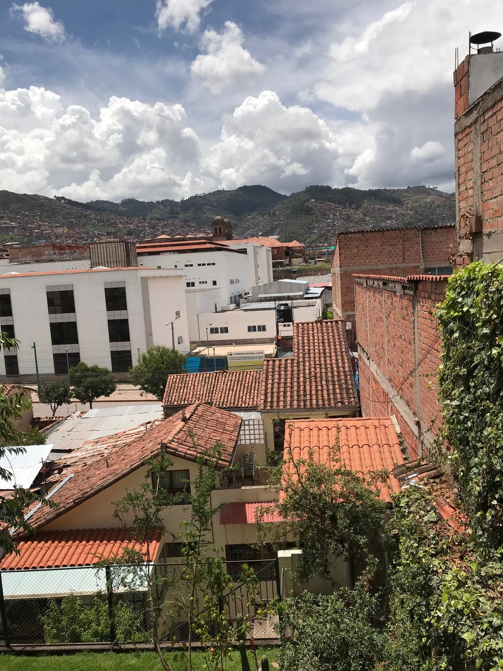 The view from the home we are living at in Cusco.