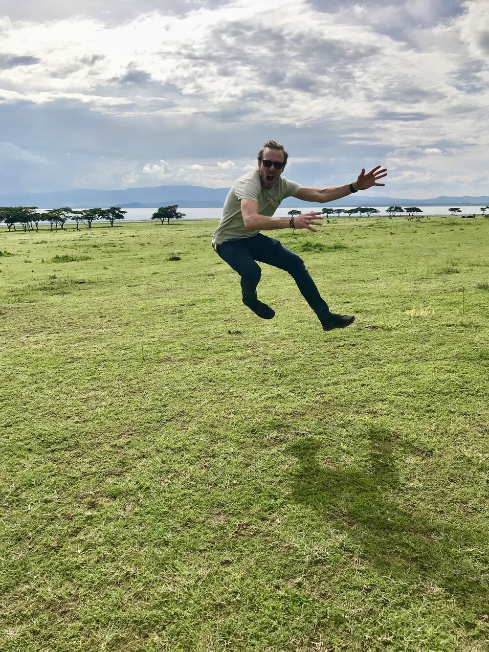 Epic jumping picture, you can't see them, but there's zebra's and buffaloes behind me!