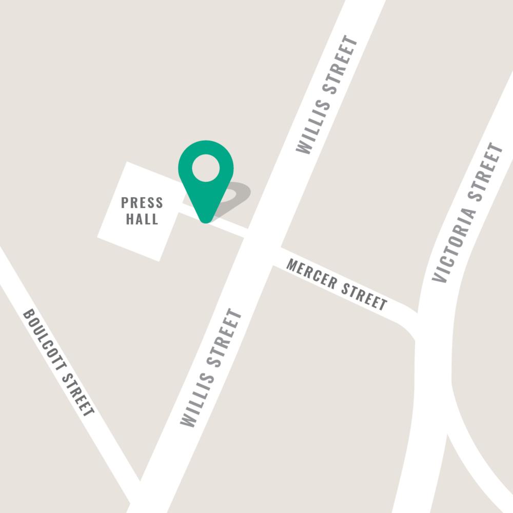 Press Hall – 78 Willis Street - Mon/Tue/Wed: 11am–3pmThu/Fri: 11am–8pm   Sat:11am–4pm
