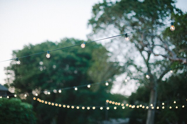 Claire & Zach | our favorite kind of lighting: bistros hanging from the trees 💡🌳 @unearthedvintage remember bringing the tallest ladder ever for this install!? so pretty. @sheachristinephoto capturing all the ambiance 👌🏽#desireedawnevents #outdoorweddingplanner #backyardweddingplanner