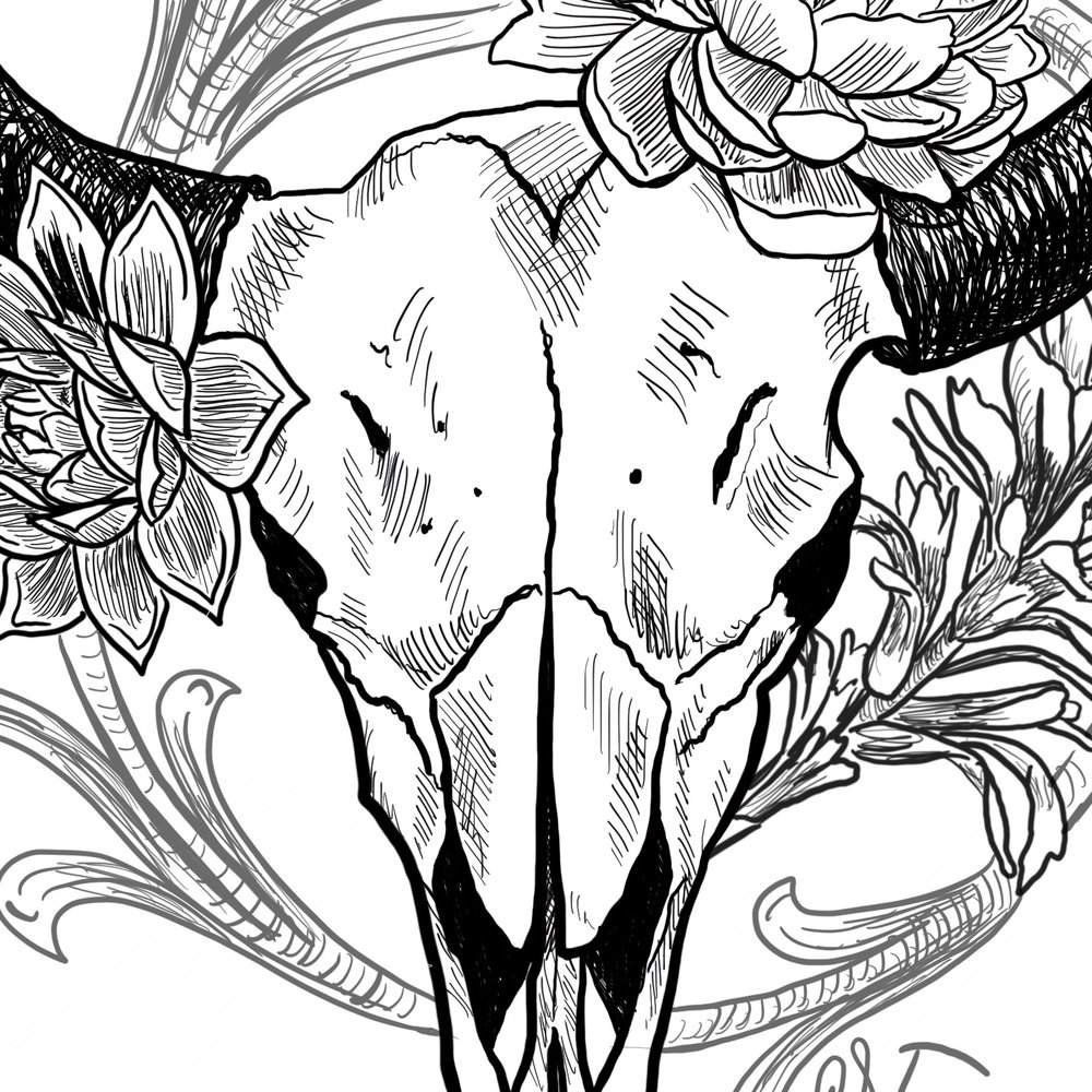 FLORAL BISON   TATTOO DESIGN