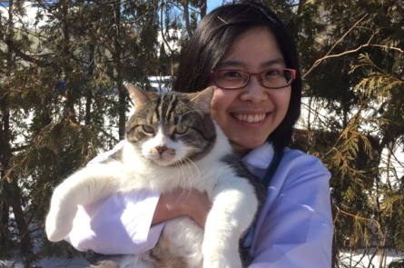 Dr. Leung with our favorite clinic cat Wall-ee