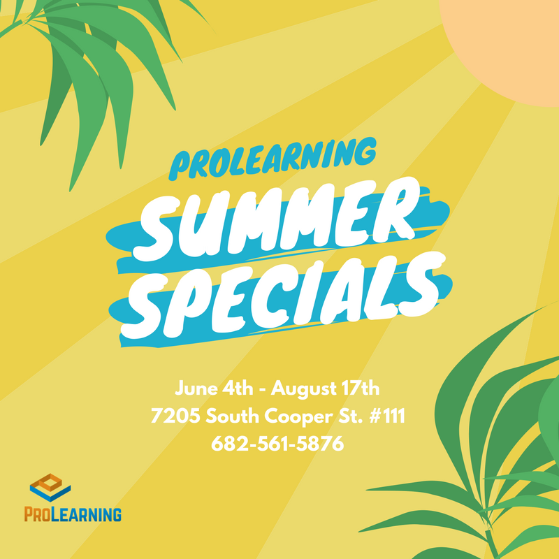 It's that time of the year again! Summer is here, but learning continues!  Prolearning is offering summer specials to help your child catch up, keep up, or stay ahead!  *12 Hour Package - $55/session  **36 Hour Package - $45/per session  Payment plans available