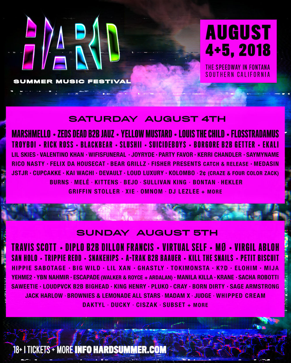HARD Summer Music Festival - HARD veterans will be thrilled to find many venue upgrades this year, including:- Parking lot shuttles to the entrance- More entry lanes, now with shade!- Easier access to the Speedway from the new entrance- Easier stage access, with the Green stage now inside the Speedway- More signage, so you know where to go!- Enhanced audiovisual stage production- Upgraded VIP experience- More shaded areas- More water refill stations- Water features throughout the venue- Multiple venue safety improvements- More exits, with clear signage and water station