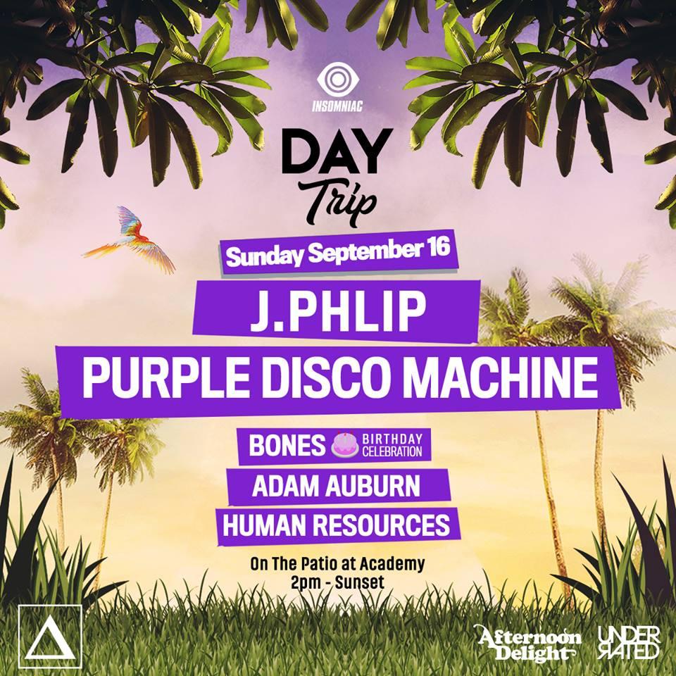 Sun Sept 6 - Day Trip: J. Phlip, Purple Disco Machine Plus MoreFree with RSVP before 3pm