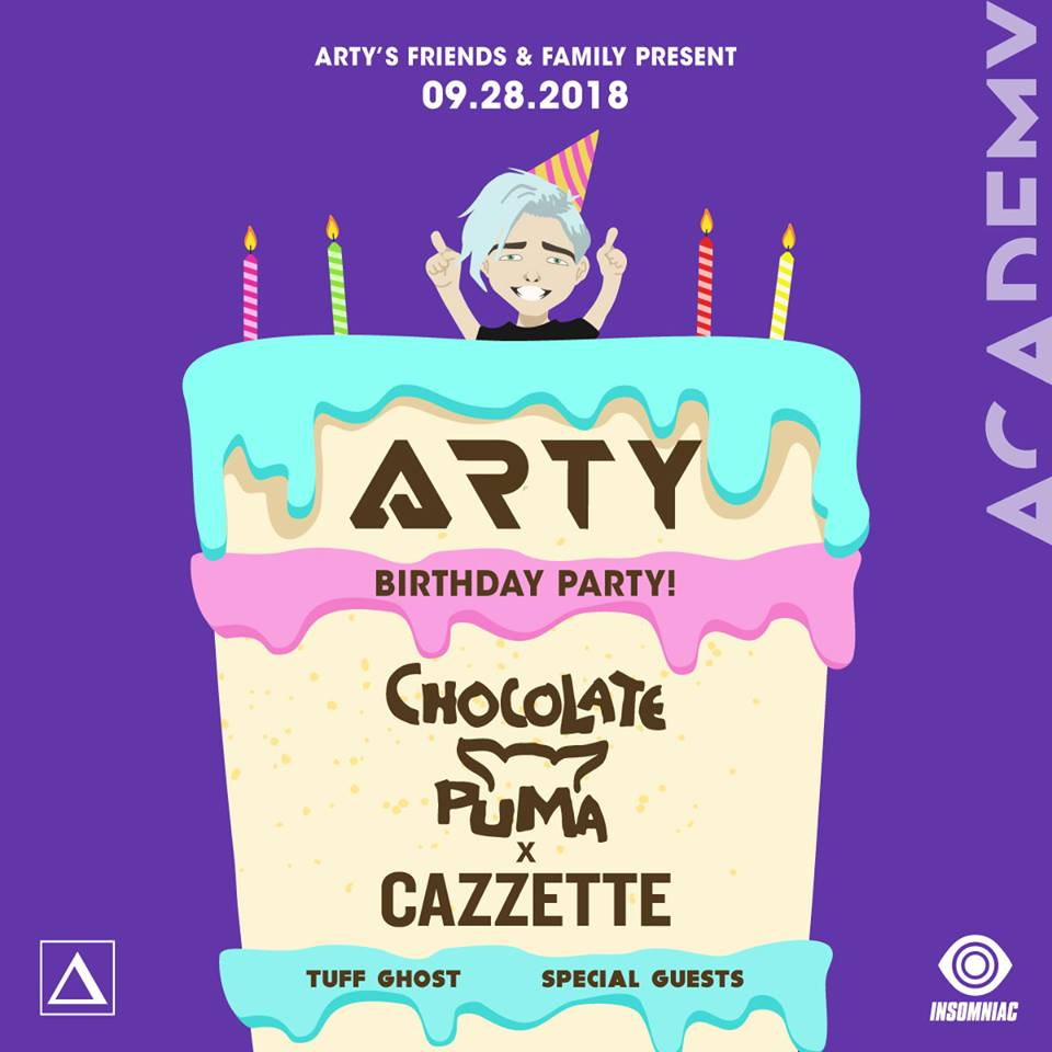 FRI SEPT 28 - Arty, Chocolate Puma, Cazzete plus many more at AcademyUse Promo code
