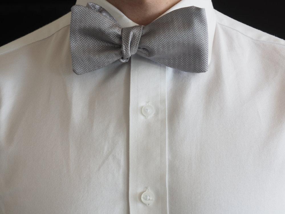 Silver silk bow tie