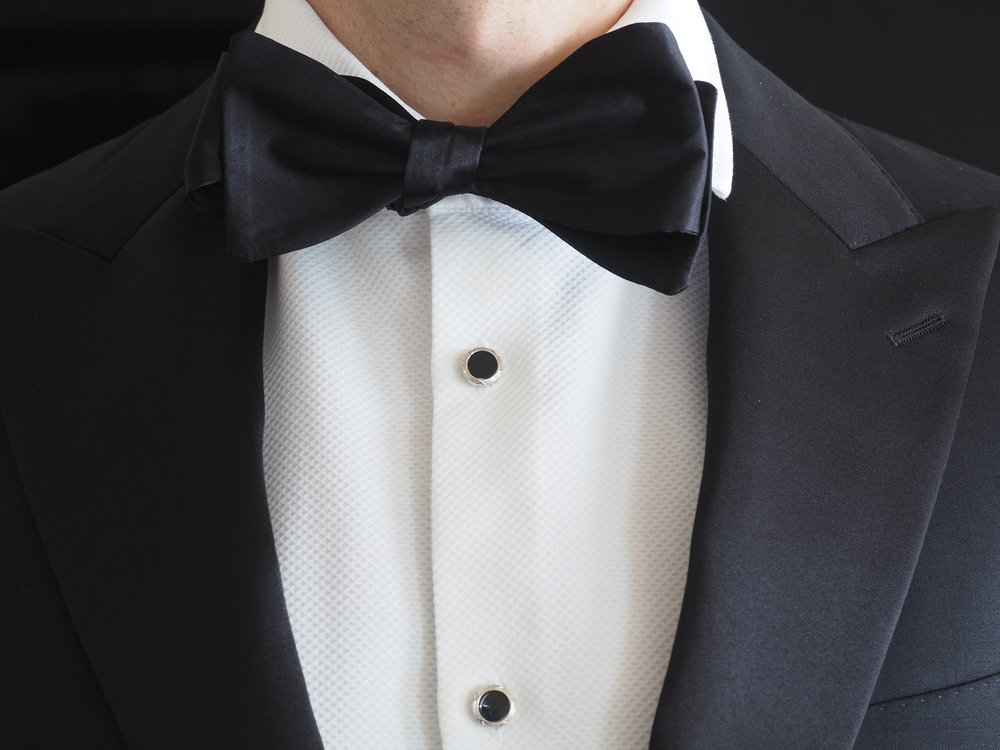 Formal black silk bow tie