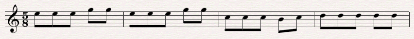 Merengue melody notated in 5/8
