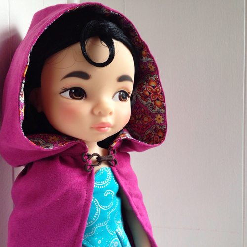 Soft Suede Hooded Cloak, Shown on Disney Animator Doll   Simply gorgeous! Your little ones will enjoy dressing up their dolls in these fabulous clothes! I have ordered many things from the seller and they are all amazing. Great quality and great price! Reviewed by Nicolle B March 13, 2015