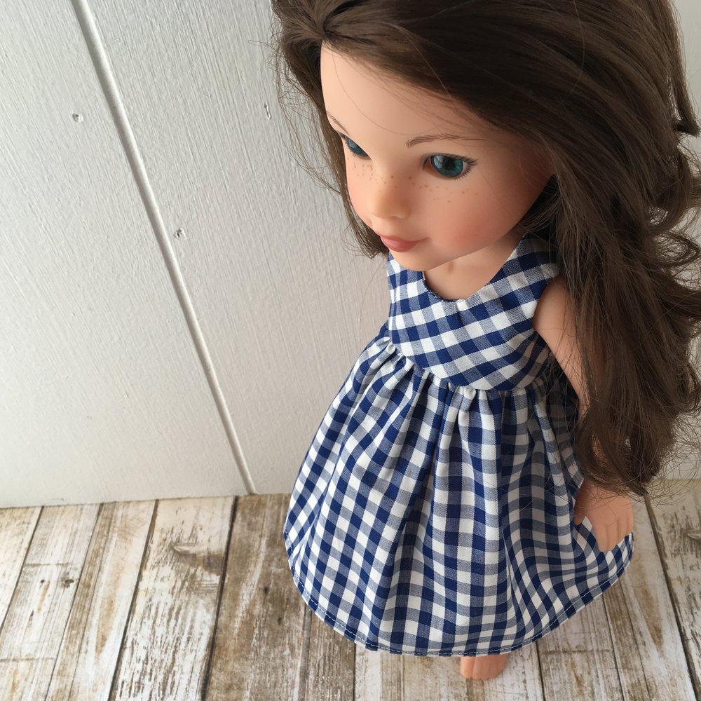 blue check doll dress s