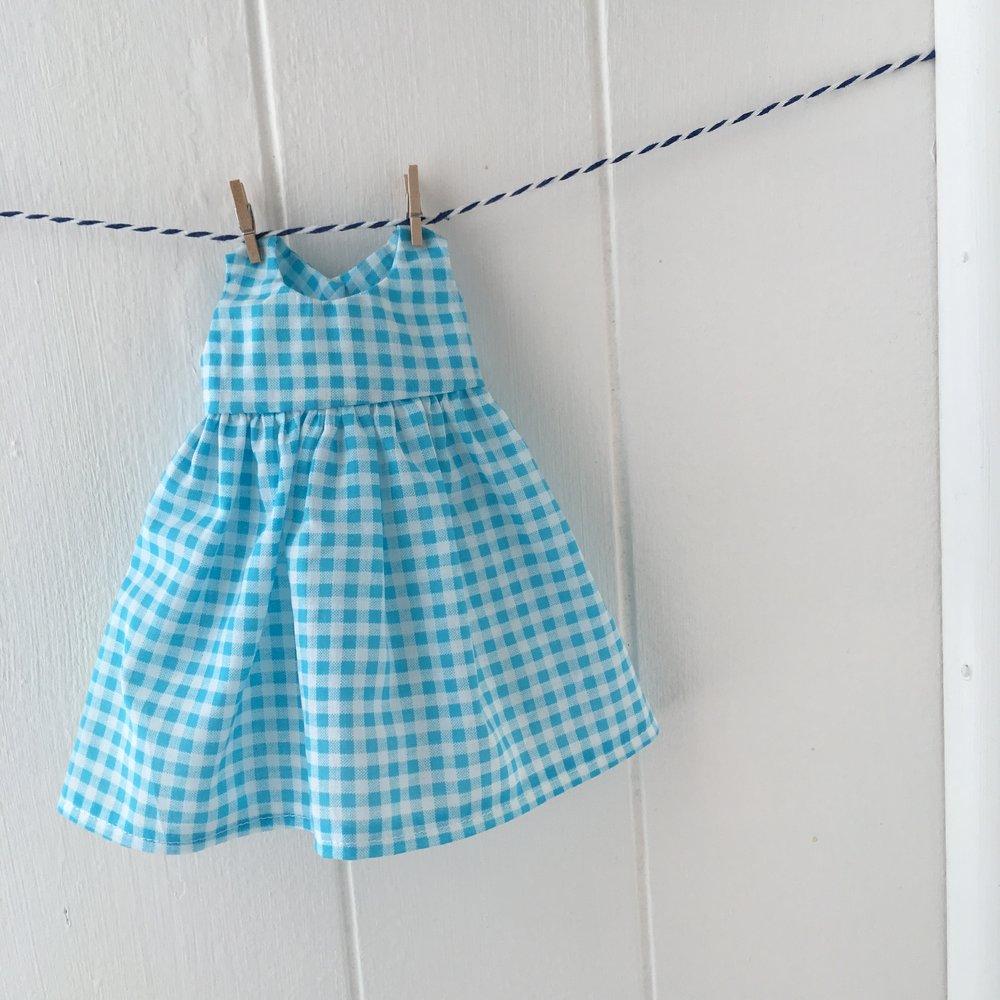 aqua check doll dress s