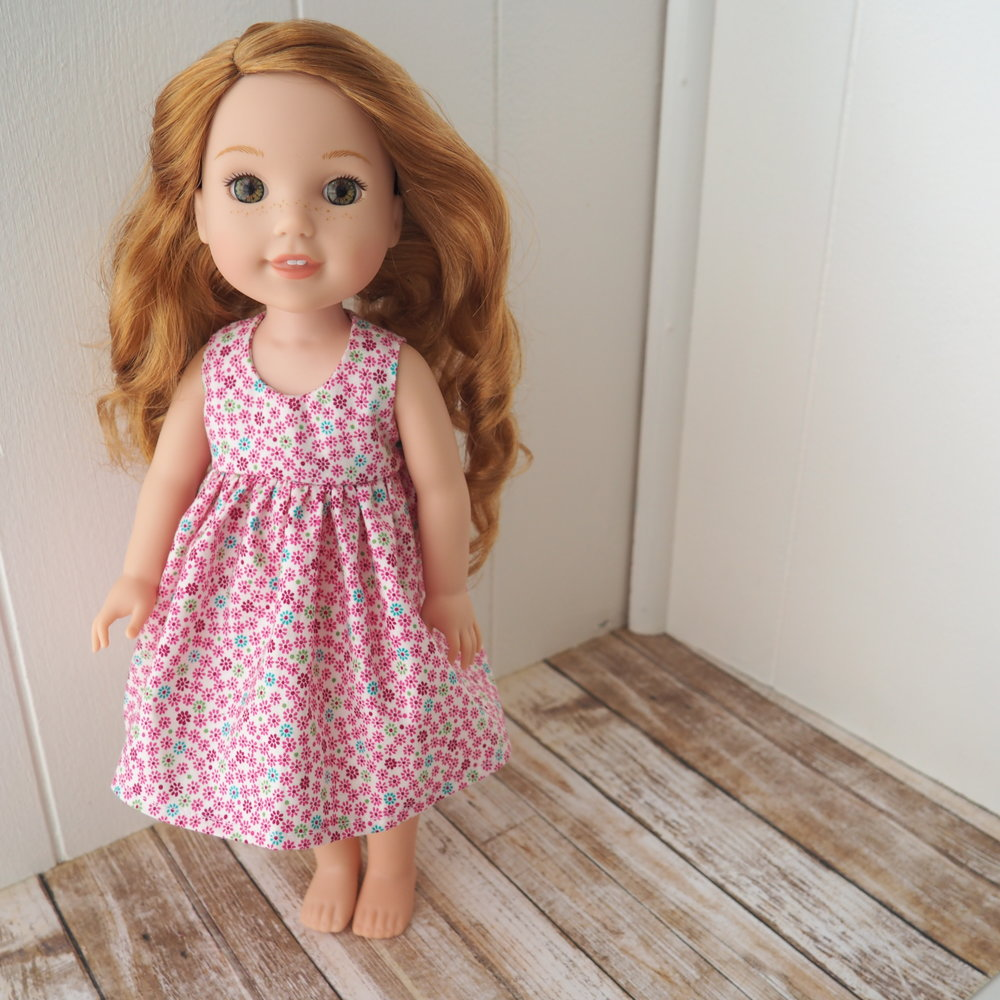 pink tiny floral doll dress s