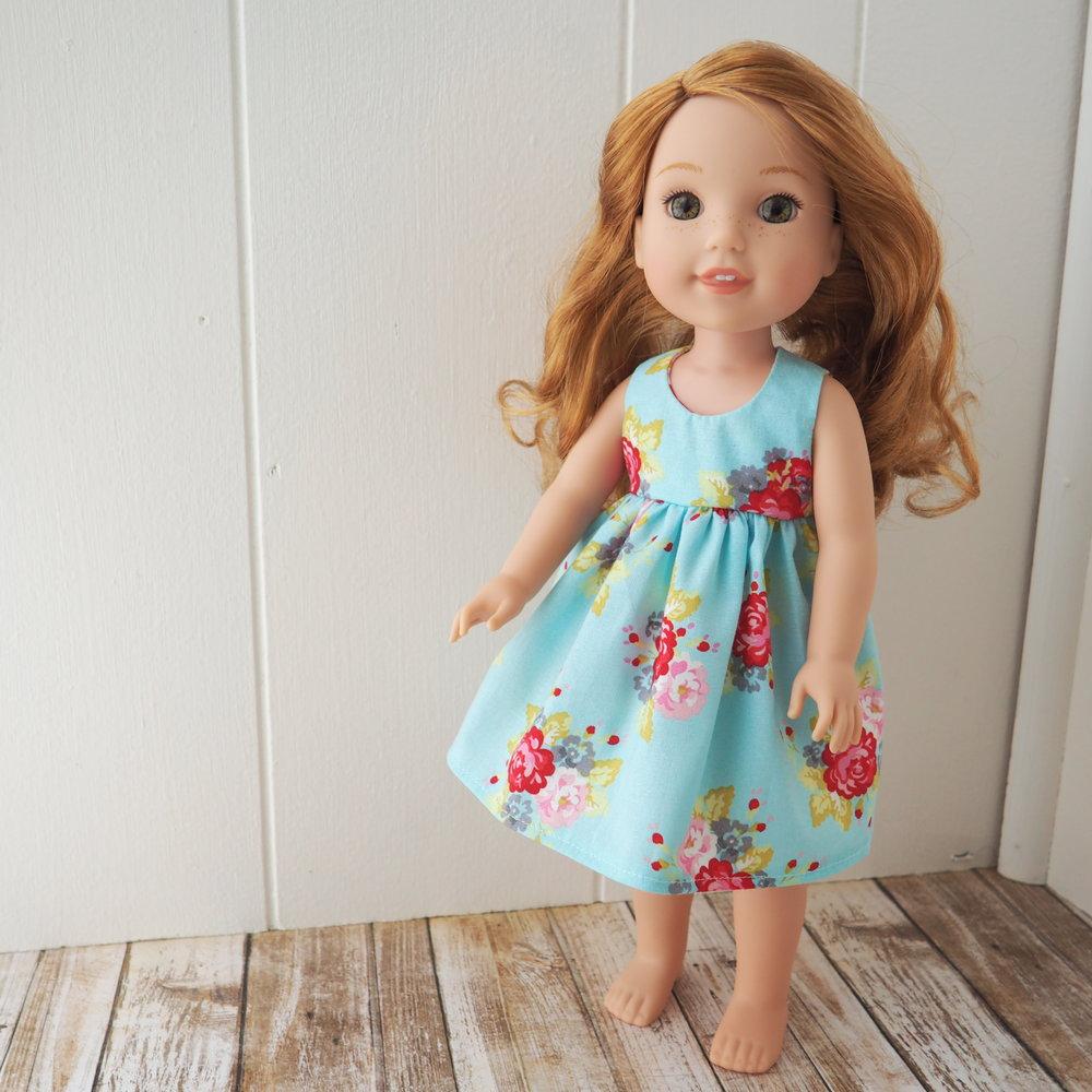 blue floral doll dress s