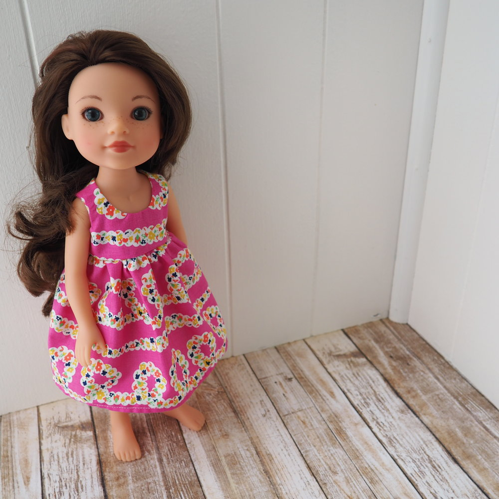 bright pink floral doll dress s