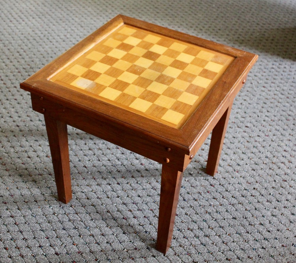 Custom table built by Bill in 7th grade shop class. -
