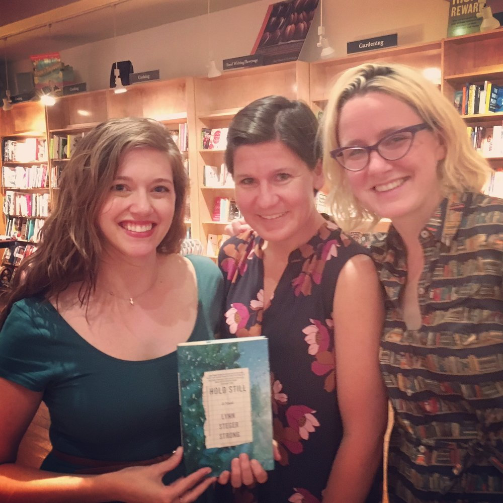 From L to R: Alisson Wood, Lynn Steger Strong, & Michele Filgate, Celebrating Lynn's novel Hold Still at BookCourt, Sept. 25th, 2016