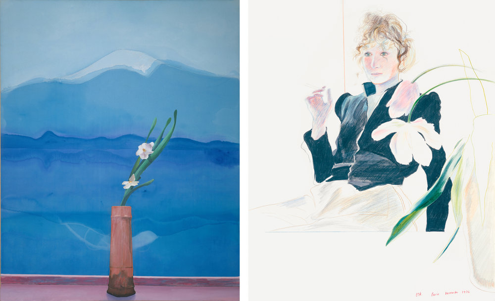 Left: David Hockney. Mount Fuji and Flowers, 1972. The Metropolitan Museum of Art, Purchase, Mrs. Arthur Hays Sulzberger. Right: David Hockney. Celia in a Black Dress with White Flowers, 1972. Collection of Victor Constantiner, New York.