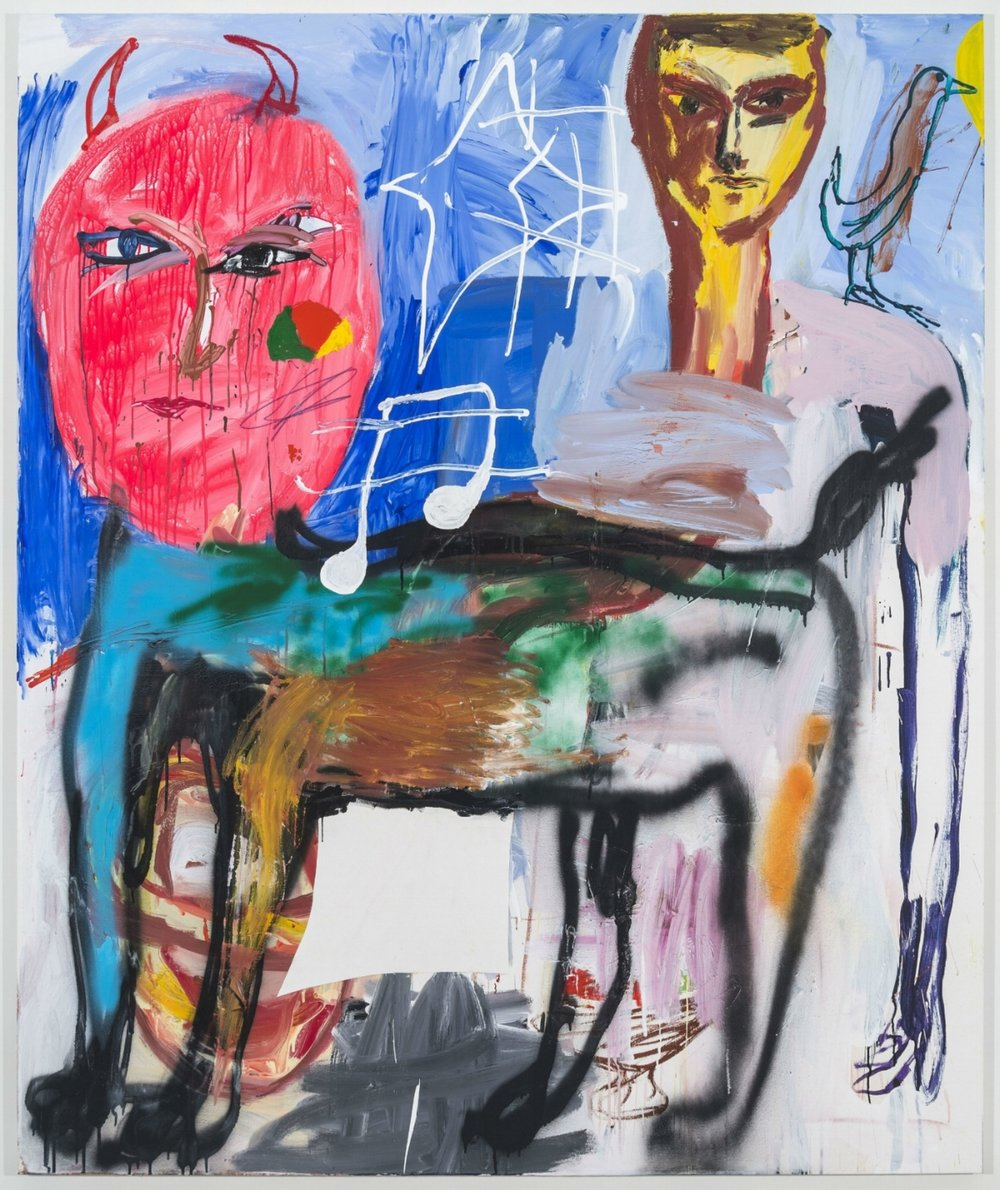 Cristina de Miguel. RAM 2, 2017. Acrylic, crayon, spray paint, and collage on canvas, 72 x 60 inches. Courtesy of the artist and Fredericks & Freiser, NY.