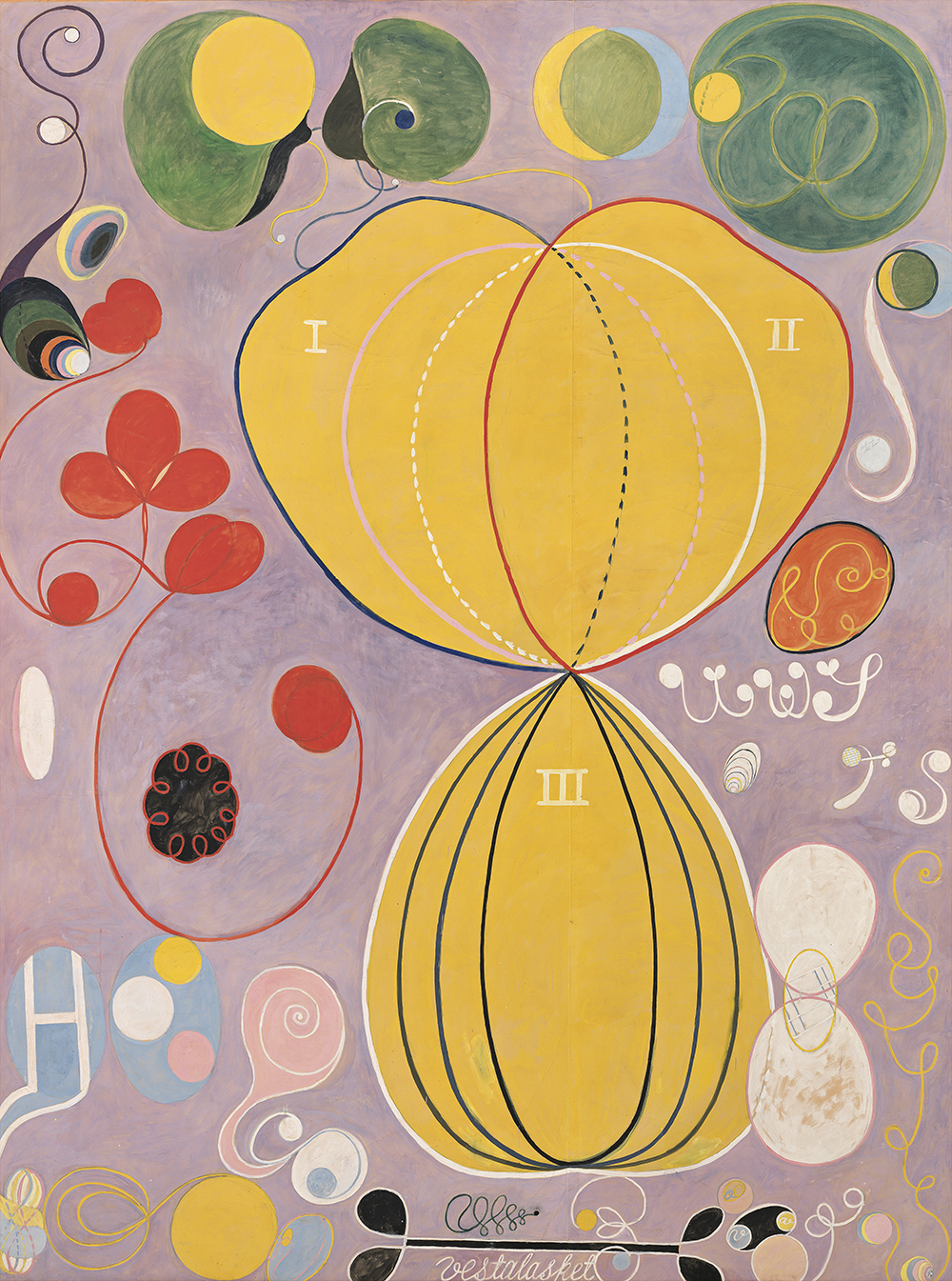 Hilma af Klint. The Ten Largest, No. 7., Adulthood, Group IV, 1907. Tempera on paper mounted on canvas, 315 x 235 cm. Stiftelsen Hilma af Klints Verk. Photo: Albin Dahlström/Moderna Museet