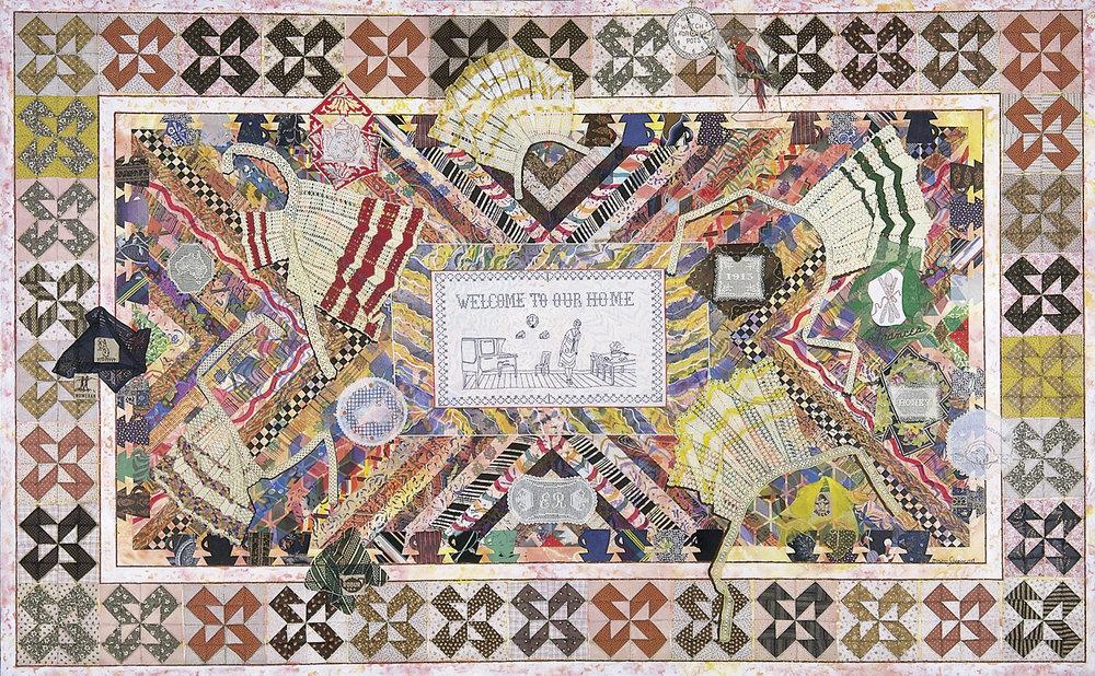Miriam Schapiro, Wonderland, 1983, acrylic, fabric and plastic beads on canvas, Smithsonian American Art Museum, Gift of an anonymous donor, 1996.88