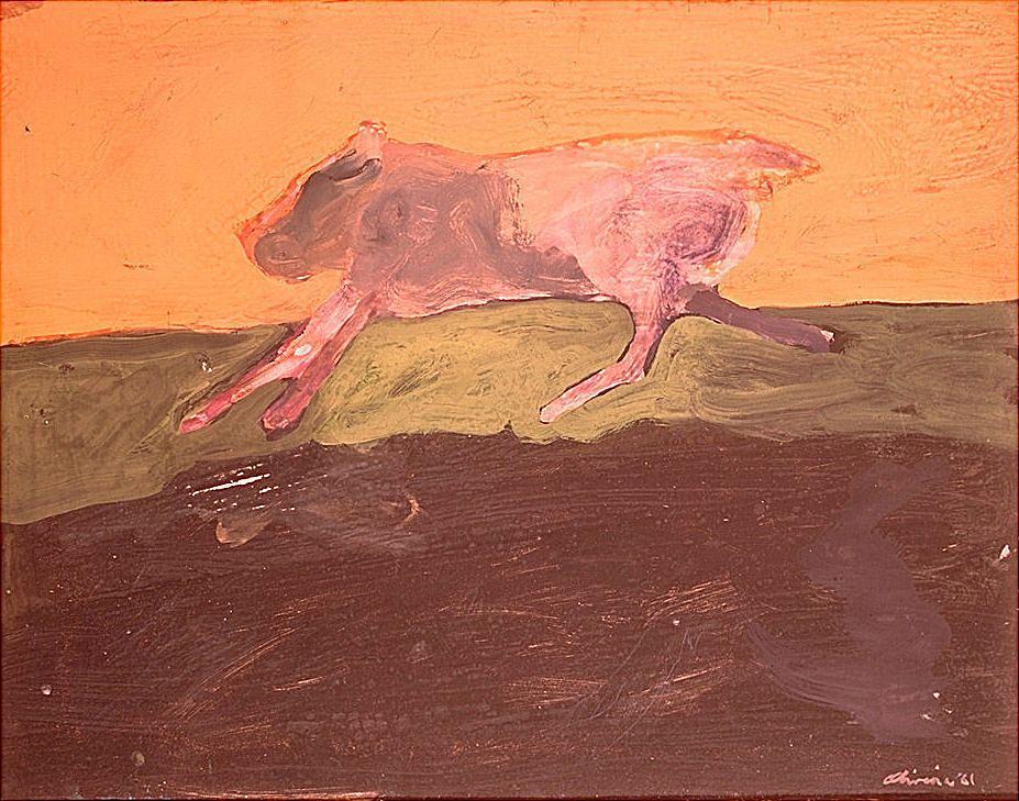 Nathan Oliveira, Running Dog. Gouache on paper mounted on fiberboard.1961. Hirshhorn Museum and Sculpture Garden, Smithsonian Institution, Washington, DC, Gift of Joseph H. Hirshhorn, 1966.