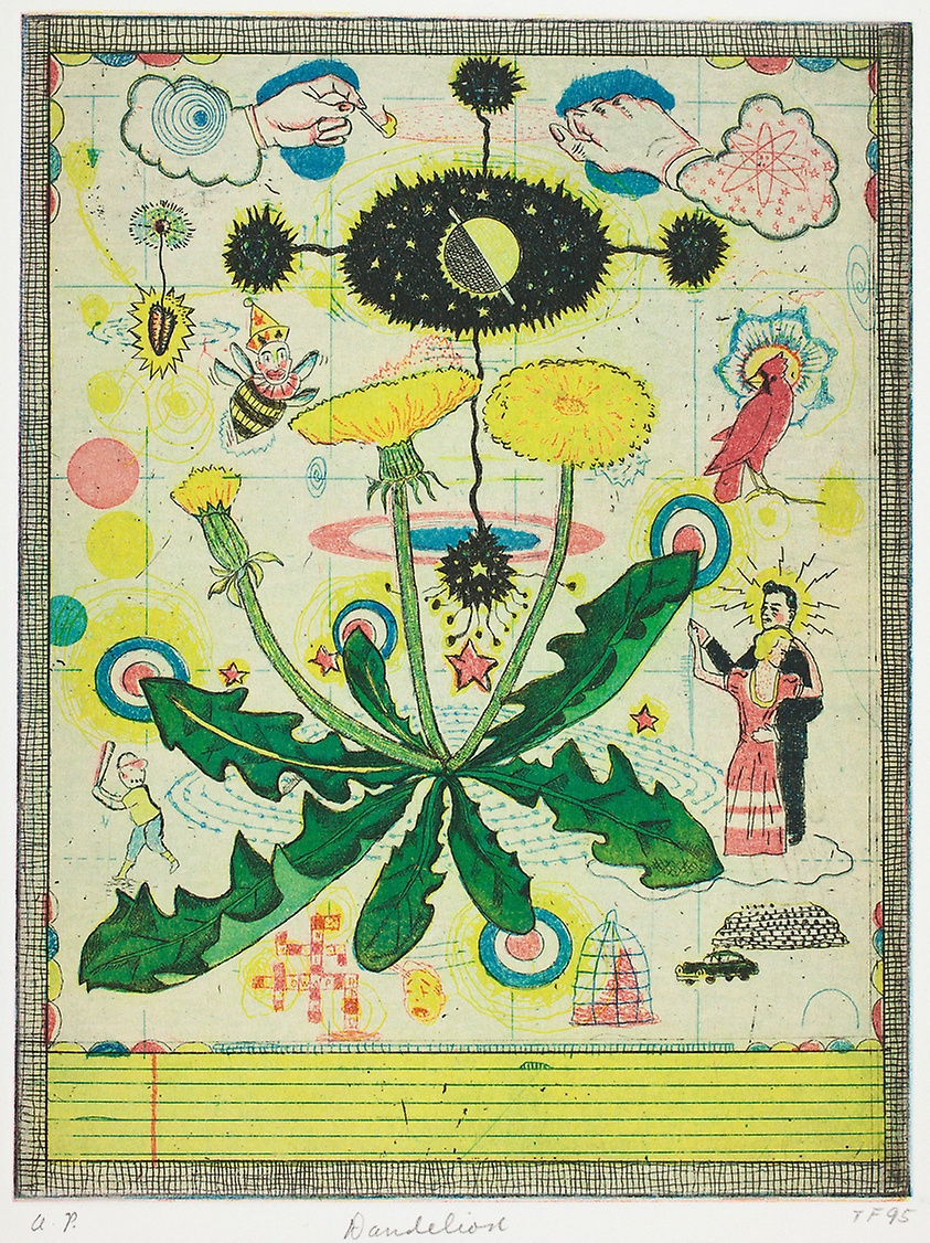 Dandelion, 1995. © Tony Fitzpatrick. Color etching with aquatint on cream wove paper, laid down on white wove paper (chine collé)
