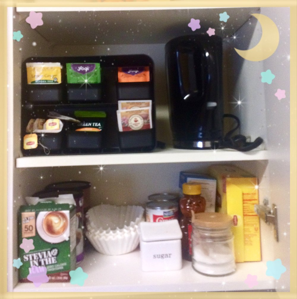 I decided to organize a cabinet for coffee and tea -