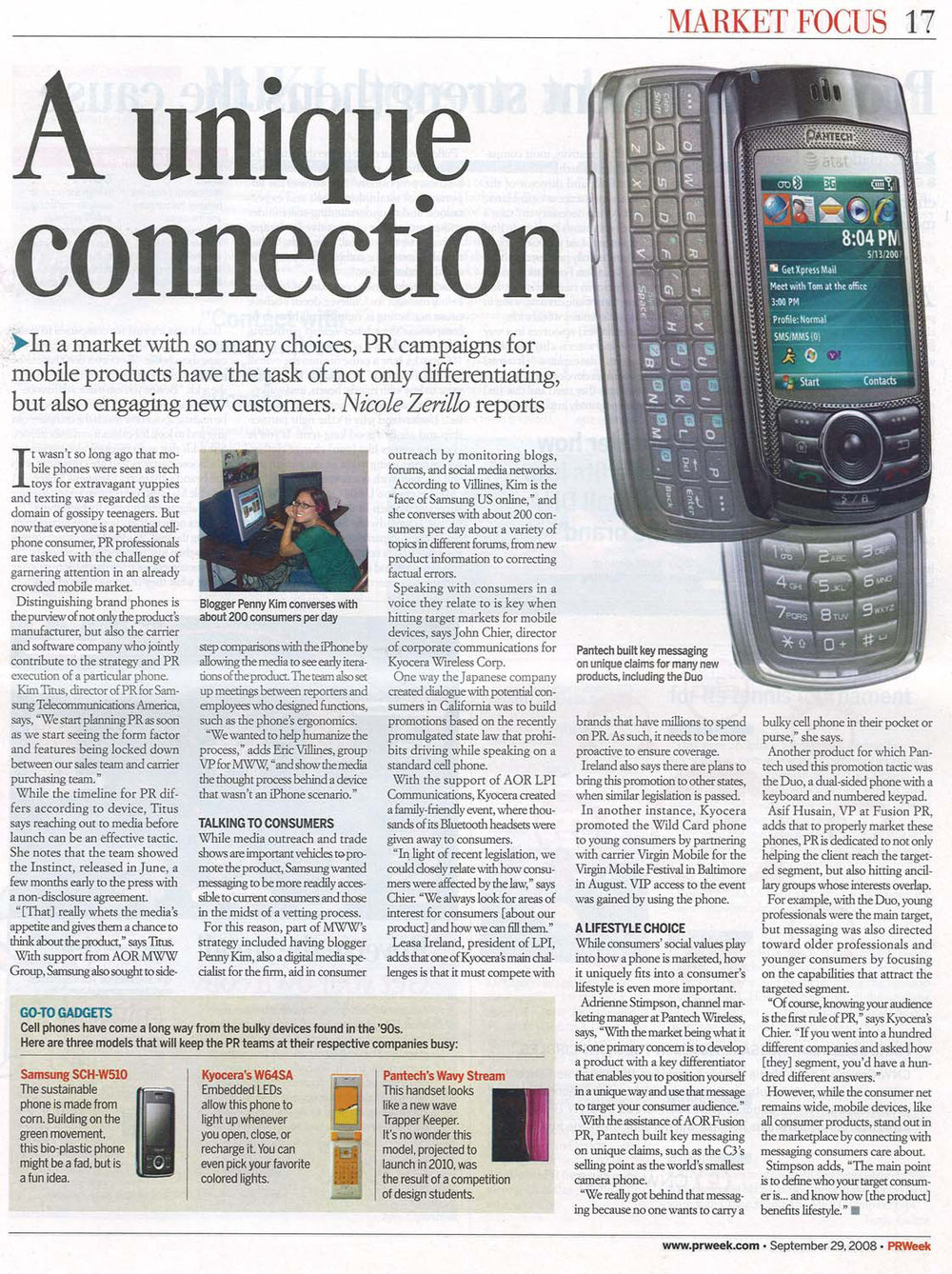 Featured in the Market Focus section of PRWeek - September 29, 2008